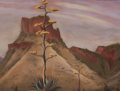 """Texas:Early Texas Art - Regionalists, GERALD WILLIAMSON """"JERRY"""" BYWATERS (American, 1906-1989).Southwest Century Plant in Bloom, circa 1936. Pastel onpaper..."""