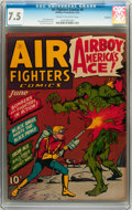 Golden Age (1938-1955):War, Air Fighters Comics #9 Rockford pedigree (Hillman Fall, 1943) CGCVF- 7.5 Cream to off-white pages....