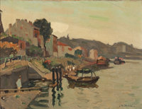 JAMES WILSON MORRICE (Canadian, 1865-1924) Coastal Village Oil on board 10-1/2 x 13-1/2 inches (2