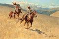 Paintings, JAMES REYNOLDS (American, 1896-1996). Roping the Stray. Oil on masonite. 23 x 32 inches (58.4 x 81.3 cm). Signed lower r...
