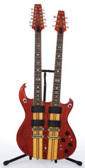 Musical Instruments:Electric Guitars, Aria Pro II Supertwin 1512 Red Electric Guitar #106003....