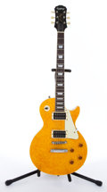Musical Instruments:Electric Guitars, 1993 Epiphone Les Paul Amber Electric Guitar #S93121809...