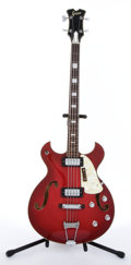Musical Instruments:Bass Guitars, Greco Red Archtop Semi-Hollow Body Electric Bass Guitar #N/A....