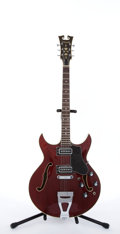 Musical Instruments:Electric Guitars, Vintage Standel 410-C Cherry Archtop Semi-Hollow Body Electric Guitar #1006FF....