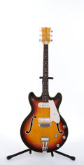 Musical Instruments:Electric Guitars, Univox Style Sunburst Semi-Hollow Body Electric Guitar # N/A....