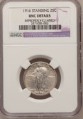 Standing Liberty Quarters: , 1916 25C --Improperly Cleaned--NGC Details. UNC. NGC Census:(4/188). PCGS Population (7/256). Mintage: 52,000. Numismedia W...