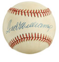 Autographs:Baseballs, Ted Williams Single Signed Baseball. Stunning sweet spot signaturehas been applied to the offered OAL (Brown) baseball cou...