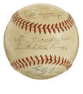 Autographs:Baseballs, 1949 Cleveland Indians Team Signed Baseball. The legendary SatchelPaige, Early Wynn and Bob Feller share space on this OAL ...