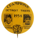 Baseball Collectibles:Pins, 1934 Detroit Tigers Champions Pinback. New Tigers manager MickeyCochrane took the reigns of the Detroit AL team in 1934, t...