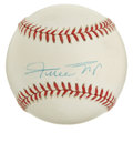 Autographs:Baseballs, Willie Mays Single Signed Baseball. The Say Hey Kid's signaturemakes the cream-toned ONL (White) orb that we make availab...
