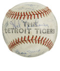 Autographs:Baseballs, 1944 Detroit Tigers Team Signed Baseball. Twenty-seven from theroster of the '44 Detroit Tigers can be found on the leathe...