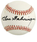 "Autographs:Baseballs, Charles Gehringer Single Signed Baseball. Widely regarded as one ofthe greatest second basemen of all time, Charles ""The M..."