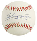 "Autographs:Baseballs, Johnny Mize Single Signed Baseball. Earning the nickname ""The BigCat"" for his slick fielding around first base, Johnny Miz..."