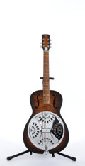Musical Instruments:Resonator Guitars, Modern Dobro Walnut Flame Top Resonator Guitar # N/A....