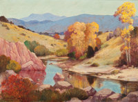 FREDERICK JARVIS (American, 1868-1944) Autumn Landscape with River Oil on canvas 18 x 24 inches (