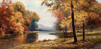ROBERT WILLIAM WOOD (American, 1889-1979) Change of Seasons Oil on masonite 24 x 47-3/4 inches (6