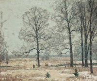 JOHN FABIAN CARLSON (Swedish/American, 1874-1945) Winter Hickories Oil on canvas 25 x 30 inches (