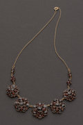 Estate Jewelry:Necklaces, Garnet & 10k Gold Necklace. ...