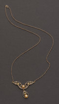 Estate Jewelry:Necklaces, Antique 10k Gold & Diamond Necklace. ...
