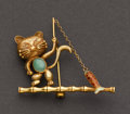 Estate Jewelry:Brooches - Pins, Gold, Enamel & Jade Cat Fishing Pin. ...