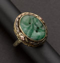 Estate Jewelry:Rings, Carved Jade Multi-Color Gold Ring. ...