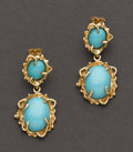 Estate Jewelry:Earrings, Turquoise & Gold Earrings. ...