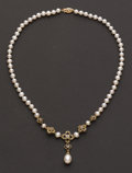 Estate Jewelry:Necklaces, Pearl & Gold & Diamond Necklace. ...