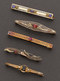 Estate Jewelry:Brooches - Pins, A Lot Of Five Yellow Gold Bar Pins. ... (Total: 5 Items)