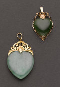 Estate Jewelry:Pendants and Lockets, Two Jade & Gold Pendants. ... (Total: 2 Items)