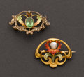 Estate Jewelry:Brooches - Pins, Two Art Nouveau Gold & Enamel Pins. ... (Total: 2 Items)