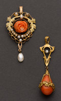 Estate Jewelry:Pendants and Lockets, Two Antique Gold & Coral Drops. ... (Total: 2 Items)