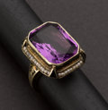 Estate Jewelry:Rings, Antique Amethyst & Seed Pearl Gold Ring. ...