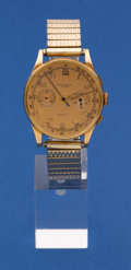 Timepieces:Wristwatch, Swiss 18k Gold Chronograph For Restoration. ...