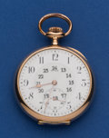 Timepieces:Pocket (post 1900), Invar 18k Gold 50 mm Open Face Pocket Watch. ...