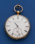 Timepieces:Pocket (pre 1900) , Swiss 18k Gold 45 mm Key Wind Signed Arnold Adams & Co. PocketWatch. ...