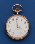 Timepieces:Pocket (post 1900), Swiss 14k Gold 48 mm Fancy Dial Pocket Watch. ...