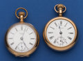 Timepieces:Pocket (post 1900), Two - Waltham's 18 Size Open Face Pocket Watches. ... (Total: 2 Items)