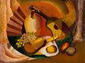 Works on Paper, BARBARA LUCILLE MAPLES (Texas, 1912-1999). Pair of Still Lifes . Fruit, Fin, and Fiddle. Oil on paper. 17 x 22 inc... (Total: 2 Items)