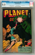 Golden Age (1938-1955):Science Fiction, Planet Comics #47 (Fiction House, 1947) CGC VF 8.0 Off-white towhite pages....