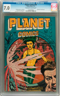 Golden Age (1938-1955):Science Fiction, Planet Comics #49 (Fiction House, 1947) CGC FN/VF 7.0 Off-white towhite pages....