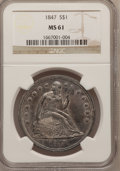 Seated Dollars: , 1847 $1 MS61 NGC. NGC Census: (14/50). PCGS Population (6/47).Mintage: 140,750. Numismedia Wsl. Price for problem free NGC...