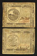 Colonial Notes:Continental Congress Issues, Continental Currency May 10, 1775 $5 and May 9, 1776 $6 Very Fine..... (Total: 2 notes)