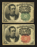 Fractional Currency:Fifth Issue, Fr. 1264 and 1265 10¢ Fifth Issue Notes Fine.. ... (Total: 2 notes)