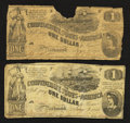 Confederate Notes:1862 Issues, T44 $1 1862 Two Examples.. ... (Total: 2 notes)