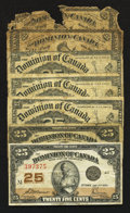 Canadian Currency: , An Assortment of Seven Canadian Shinplasters. . ... (Total: 7 notes)