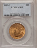Indian Eagles, 1910-S $10 MS61 PCGS....