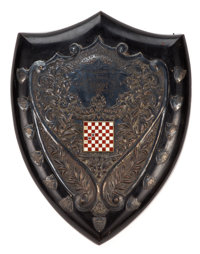 MALCOLM S. FORBES COLLECTION: VICTORIAN SILVER PLATE, ENAMEL AND EBONIZED WOOD TROPHY SHIELD, PRESENTED BY THE SALEM INS...