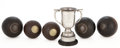 Decorative Arts, British:Other , MALCOLM S. FORBES COLLECTION: FIVE VICTORIAN LAWN BOWLS TOGETHERWITH A GEORGE VI SILVER BOWLS TROPHY. 8 inches high (20.3 ...