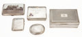 Silver Holloware, British:Holloware, MALCOLM S. FORBES COLLECTION: FIVE VARIOUS EDWARDIAN AND LATERCIGARETTE AND TOBACCO BOXES WITH PRESENTATION ENGRAVING, VARIO...
