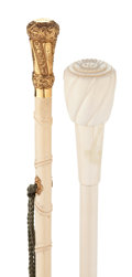 Decorative Arts, Continental:Other , TWO CARVED IVORY CANES: ONE LADY'S CANE AND ONE DOCTOR'S CANE. 35inches overall length, lady's cane (88.9 cm); 33-5/8 inch...(Total: 2 Items)